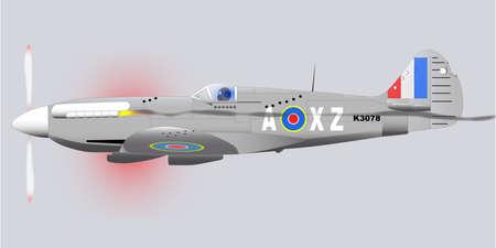 avion de chasse: Un Supermarine Spitfire la Seconde Guerre mondiale avion de chasse Mark XIV de retour de patrouille avec pare-balles et dmage mitrailleuse