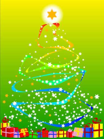 Ribbon and Star Christmas Tree Stock Vector - 16452668