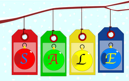A collection of Christmas Tags spelling out the world  SALE   Vector