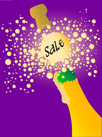Champagne bottle being opened with froth and bubbles with a large bubble with a sale notice. Stock Vector - 16489444