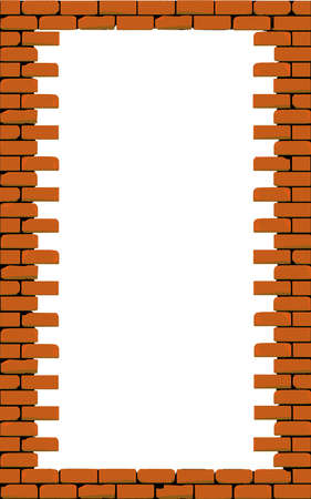 A hole in a brick wall, a border of weathered red house bricks  Stock Vector - 16528958