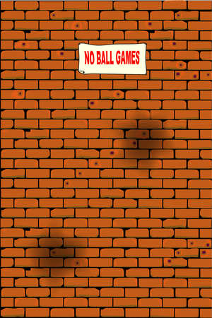 fire damage: A war damaged wall with a  no ball games  poster