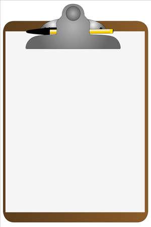 A clipboard with a ball  pen Stock Vector - 16589206