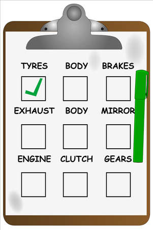 A garage clipboard with a green felt tip pen and tickboxes Stock Vector - 16590877