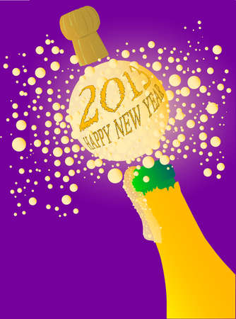 twenty thirteen: Champagne bottle being opened with froth and bubbles with a large bubble exclaiming  2013 Happy New Year