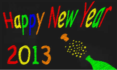A worn out old blackboard with a happy new year message and a bursting bottle of bubbly Stock Vector - 16630872