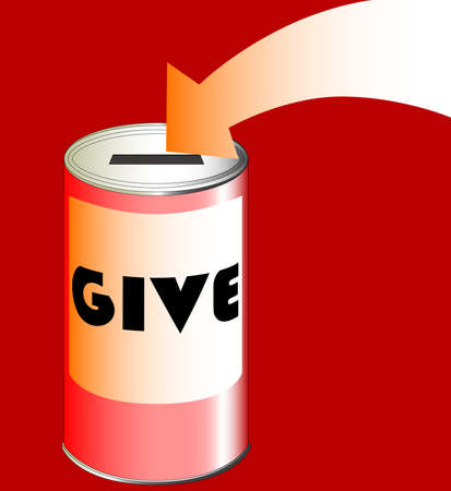 raising cans: A red charity tin with pointing arrow