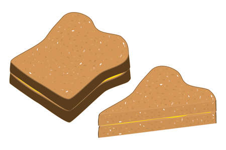 buttered: A few slices of buttered wholemeal bread. Illustration