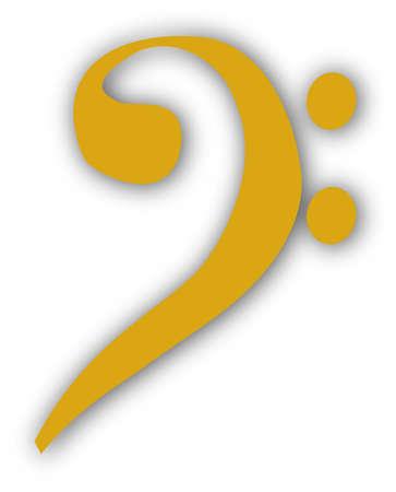 clave de fa: Una clave de fa musical aislado en un fondo blanco