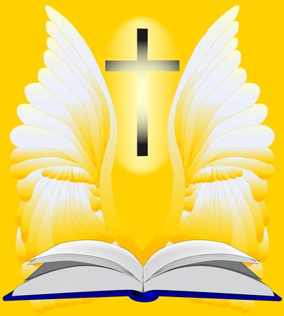 An open Bible surrounded in light and a guardian angel and crucifix   Vector