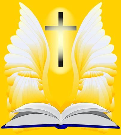 angelo custode: Una Bibbia aperta circondata di luce e un angelo custode e il crocifisso