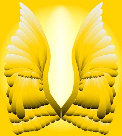angelic: Un gran par de doradas alas angelicales