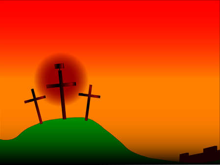 crucifiction: The three crosses with sign on Calvary with the city walls in the background