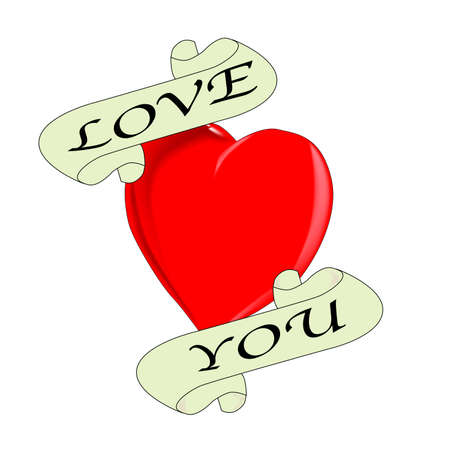A tattoo style image of the  Love You  logo  Vector