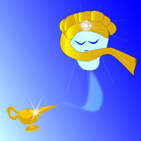 A genie floating from a magic lamp Stock Vector - 16857344