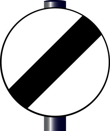 A large round black and white traffic derestriction sign, or UK 70 mph limit. Stock Vector - 16883246