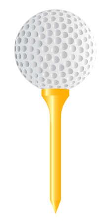 A golf ball placed on top of a golf ball tee  Stock Vector - 16911968