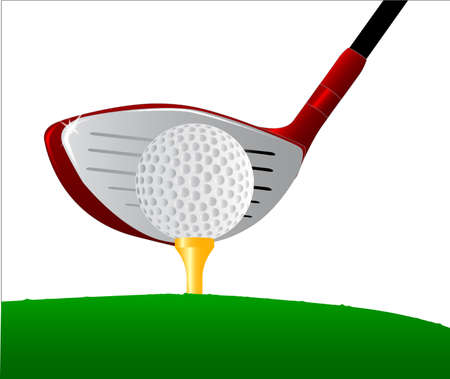 A golf ball placed on top of a golf ball tee with the driver getting ready. Stock Vector - 16911966