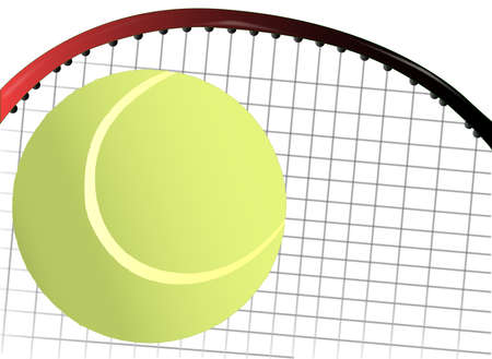 gut: A new yellow tennis ball with conventional markings with a tennis racket as the background