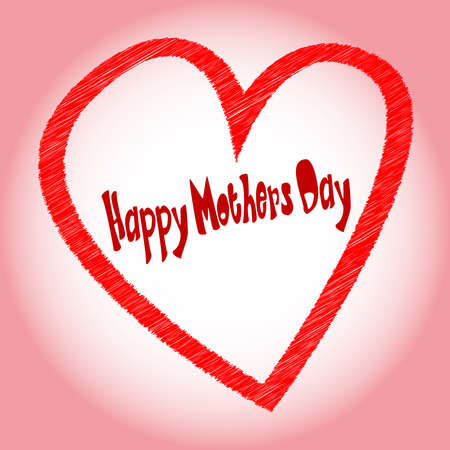 A happy mothers day heart with  happy mothers day  scrip in original font Stock Vector - 16935801