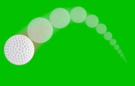 A speeding golf ball with a faded trajectory. Illusztráció