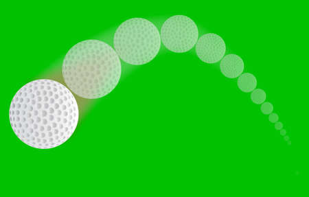 trajectory: A speeding golf ball with a faded trajectory. Illustration