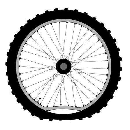 puncture: A buckled bicycle wheel and knobly tyre