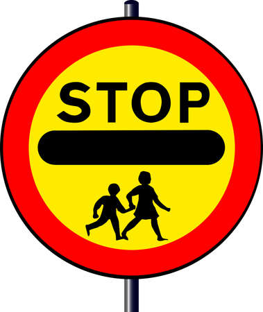 hand held: A large hand held  Stop - Children  sign as used outside school buildings by traffic control monitors or  lolipop  persons