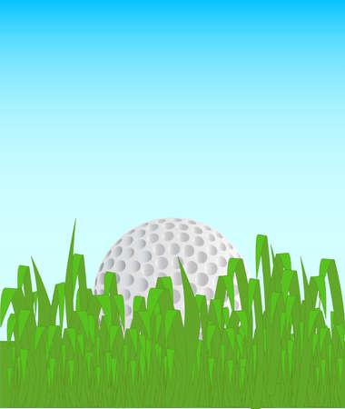 settled: A golf ball settled amongs tall grass.