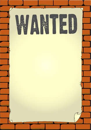An old wanted poster pasted to a wall.