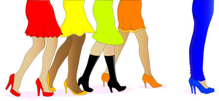 A collection of female legs walkig towards the sale with one pair wearing jeans at the front. Stock Vector - 17030912