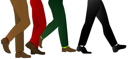 striding: A collection of male legs wearing trousers walking with the lead pair striding