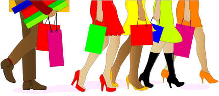 A collection of female legs walkig away from the sales with a man carrying the boxes behind  Stock Vector - 17041782