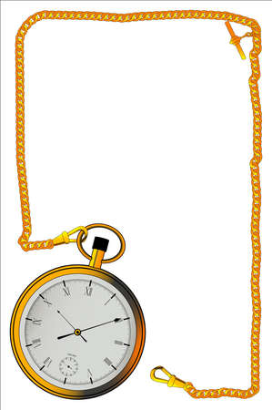 A gold watch and a long length of chain creating a border.