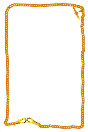 gold watch: A long length of gold watch chain creating a border