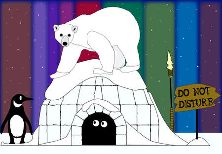 An Eskimo emerging from his igloo to find arctic animals and the Northern Lights  Vector