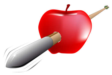 A arrow in fshot through a red apple as per  William Tell