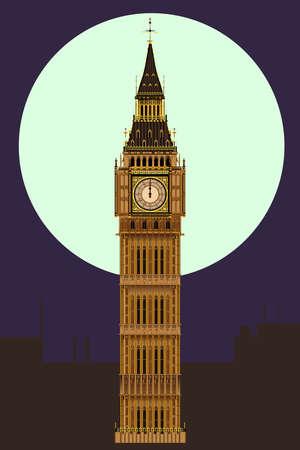 The London landmark Big Ben Clocktower at miidnight by a full moon  Vector