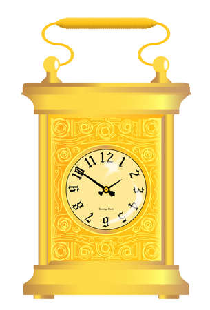 A gold traditional carriage clock isolated on white Stock Vector - 17334120