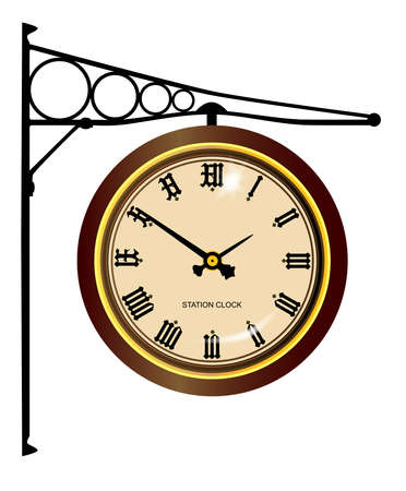 A traditional railway station hanging clock isolated on white  Stock Vector - 17334118