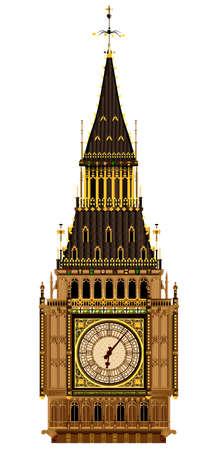ビッグベン時計の文字盤と屋根の詳細なイラスト