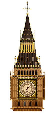 A detailed illustration of the Big Ben clock face and roof