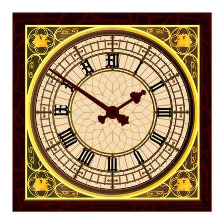 런던의 아이콘 빅 벤의 시계 얼굴 일러스트