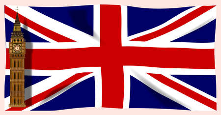 The British Union Flag, or Union JAck when used on board ship, with Big Ben plus shadows. Stock Vector - 17342570