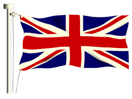 The British Union Flag, or Union Jack when used on board ship, isolated on white. Stock Vector - 17342546