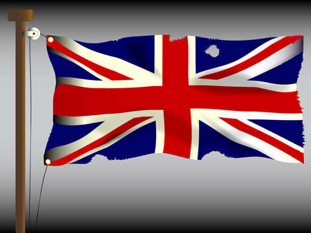 tatty: The British Union Flag, or Union Jack when used on board ship, damaged by cannon and musket  ball fire.