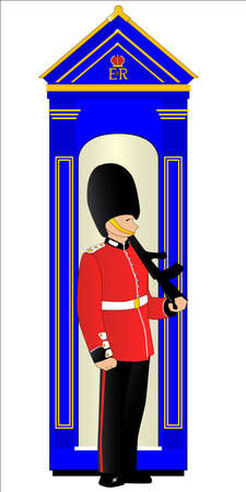 bearskin hat: A soldier on guard duty by his sentry box, isolated on white. Illustration