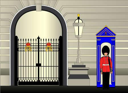 guard duty: Un soldado de guardia frente al palacio real