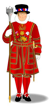 honor guard: A beefeater of the type used to guard the tower of London and the Crown Jewels.