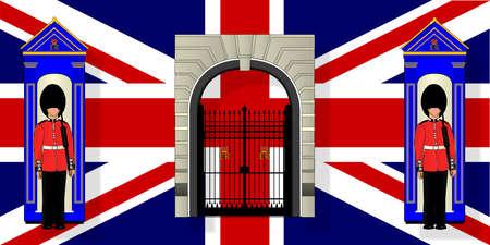 devoir: Deux Coldstream Guards en service par leurs gu�rites contre la toile de fond d'un drapeau de l'Union Jack